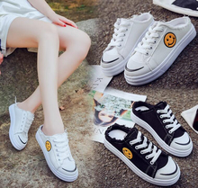 0457f82fd Super Fire Slippers Girls New Version Fashion Harajuku Style Flat Canvas  Shoes Street Shot Small White