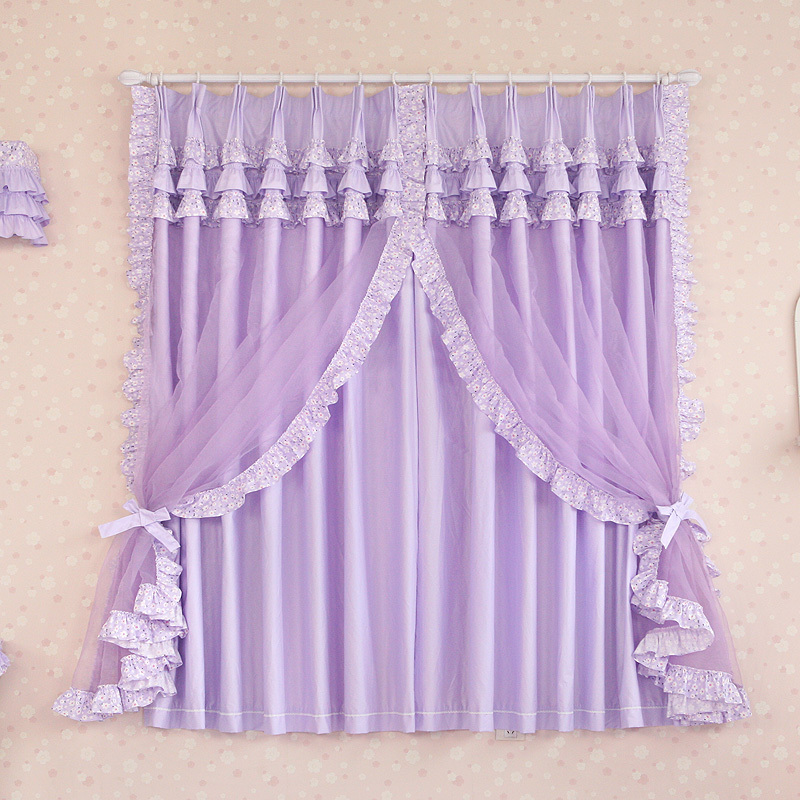 Custom Made Luxury Purple Cotton Modern Living Room Curtains Sheer Cortinas Girls Bedroom Window Curtain Chinese