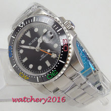 цена 40mm Bliger Black Dial Sapphire Glass GMT Calendar Luxury Brand Rotating Ceramic Bezel Luminous Automatic Movement men's Watch онлайн в 2017 году