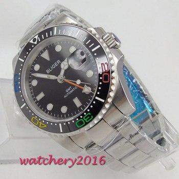 40mm Bliger Black Dial Sapphire Glass GMT Calendar Luxury Brand Rotating Ceramic Bezel Luminous Automatic Movement men's Watch
