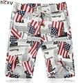 2016 Лето Мужчины случайные шорты до колен Американский национальный флаг печать высокого качества Линии хлопок резинкой пляжные шорты