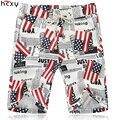2016 Homens Verão shorts casual na altura do joelho Linha de impressão da bandeira nacional Americano de alta qualidade banda elástica de algodão shorts da praia