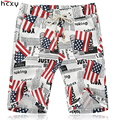 2016 Summer Men casual shorts knee length American national flag printing high quality Line cotton elastic band beach shorts