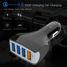 Car Charger QC30 Four USB Port Mobile Phone Charge 5V 7A Quick 3.0  Fast Charging 4