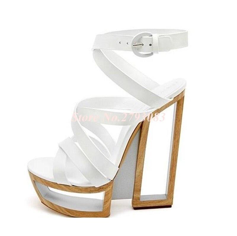 Hot-Selling-Black-White-Strange-Heel-Women-Sandals-2019-Cut-out-Hollow-Platform-Gladiator-Sandals-Women