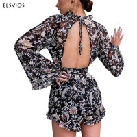 ELAVIOS Sexy Lace Up Backless Floral Print Playsuits Women 2017 Elegant Long Flare Sleeve Boho