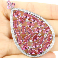 58x35mm Wonderful Long Big Drop Pink Tourmaline, White CZ Woman's Wedding 925 Silver Pendant 58x35mm