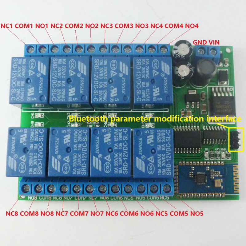DC 12V 8 Channel Android Phone Bluetooth Control Relay