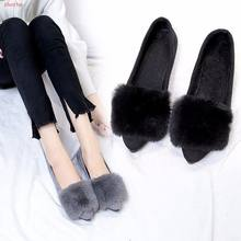 New Winter Shoes Fur Woman Flats Gold Pointed Toe Slip on Flat Shoes Plush Warm Women Faux Fur zapatos mujer boots(China)