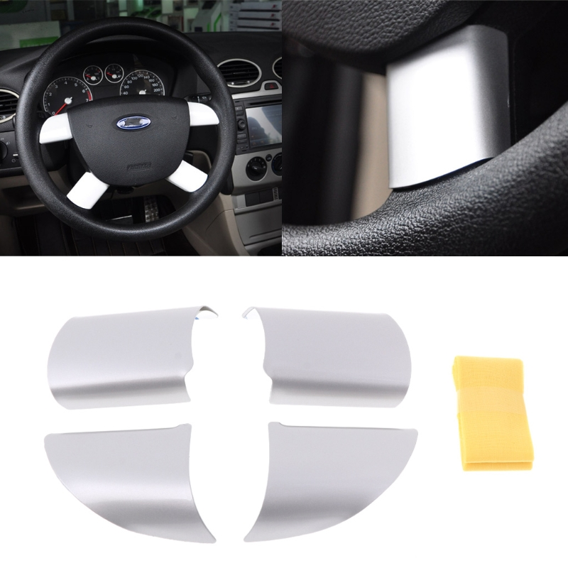 New High Quality 4 Pcs Auto Car Steering Wheel Cover Stainless Steel For Ford Focus 2 MK2 2005-2013 Interior Accessories