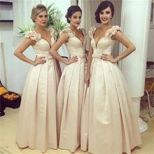 2016 Elegant V Neck Bridesmaid Dresses Pleat A Line Satin Floor-Length De Casamento Robe Demoiselle D'honneur Bridesmaid Dress