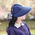 Férias boemia Fita Dobrável Verão Chapéus de Sol Para As Mulheres Da Moda Aba larga Praia Das Mulheres Chapéus De Palha E Vazio Top Caps senhoras