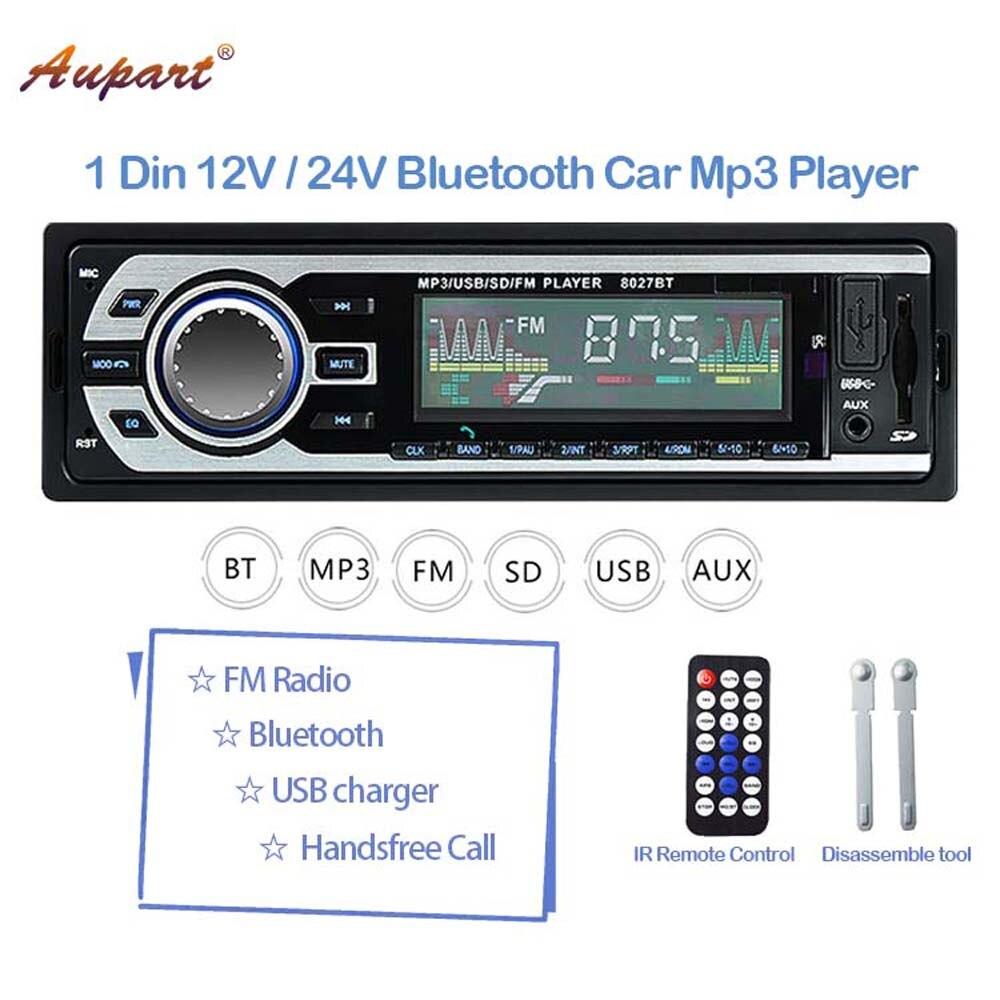 Mp3-Player Multimedia Stereos Autoradio Bluetooth BT 1 12V for Car/truck 1-Din 24V AUX