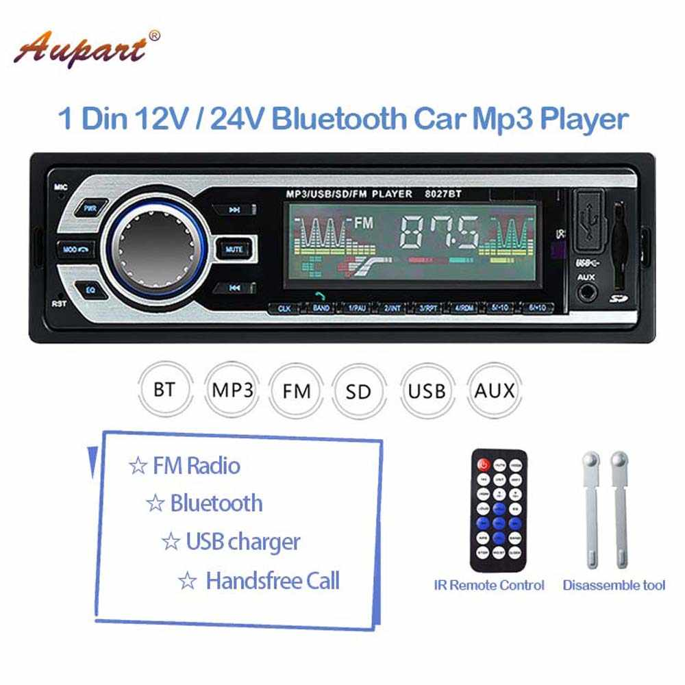 Auto stereo 1 din Car Radio Multimedia MP3 Player 12V 24V Autoradio Bluetooth BT FM AUX for car / truck stereos