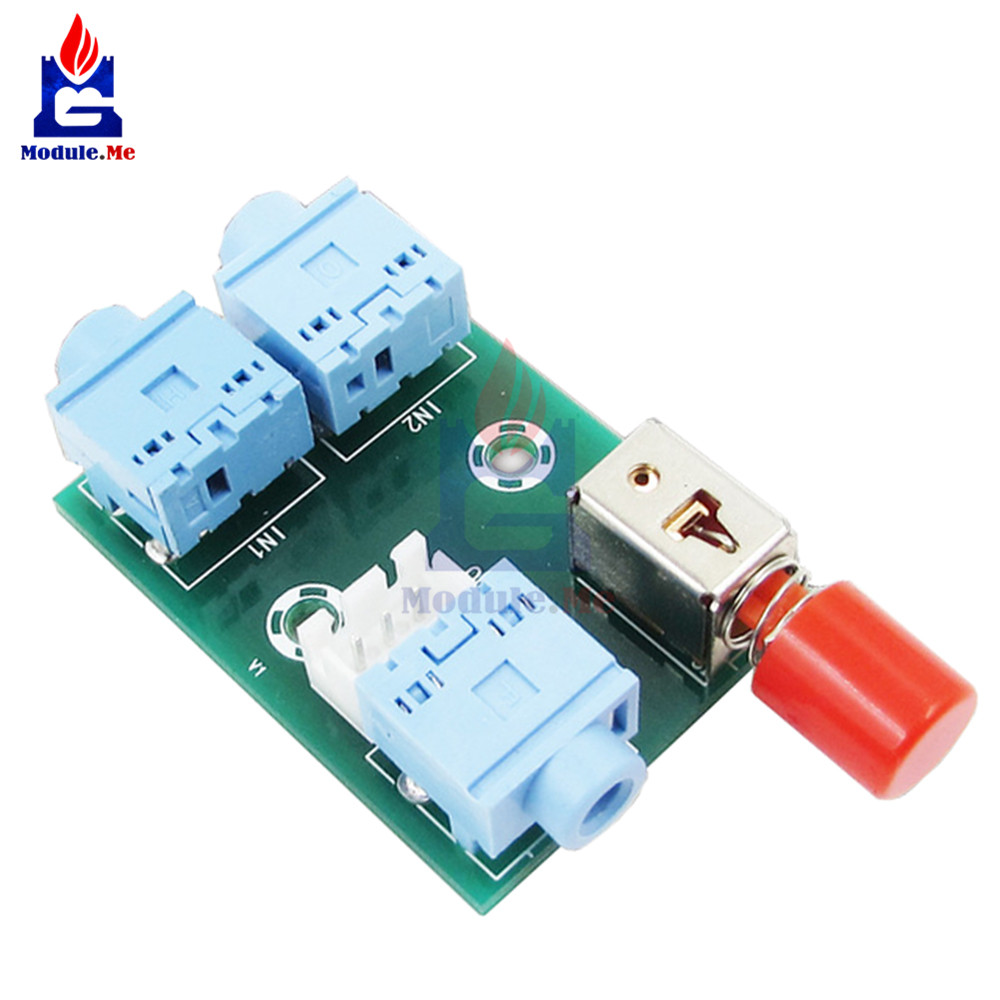 US $0.82 11% OFF|XH M371 3.5 Audio 2 Input and 1 Output Socket Switch on