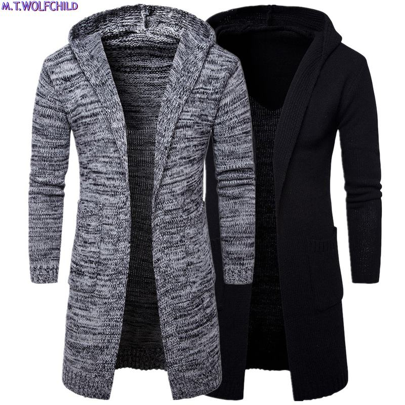 Good Quality 2018 Winter Mens Long Hooded Cardigan Knitted Sweaters Casual Mens Thick Knitting Coats Fashion Mens Loose Clothing
