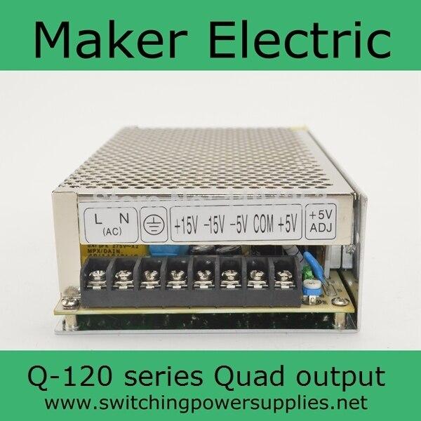 quad output power supply 120W 5V 12V -5V -12V suply Q-120B ac dc converter good quality 1pcs 60w 12v 5a power supply ac to dc power suply 12v 60w power supply 100 240vac 111 78 36mm