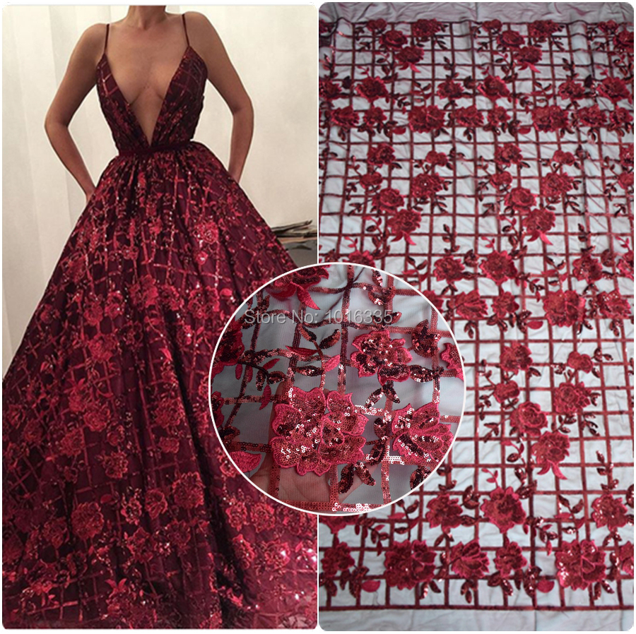 2018 latest wine red sequins french lace fabric high quality nigerian tulle lace fabric for luxury evening dresses