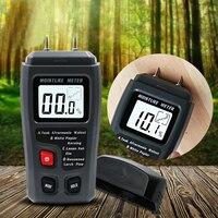 Emt01 0 99.9% dois pinos digital medidor de umidade de madeira testador umidade higrômetro detector úmido de madeira grande display lcd|Medidores de umidade|Ferramenta -