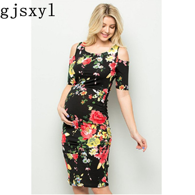 52b3cd92eff Gjsxyl Maternity dress Photo shoot Europe and the United States round neck  strapless flower print loose