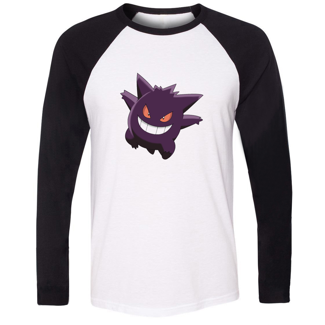 Unisex T-shirt Pokemon National Pokedex 094 Ghost Poison Type Gengar Pattern Raglan Long Sleeve Men T shirt Boy Casual Tee Tops image