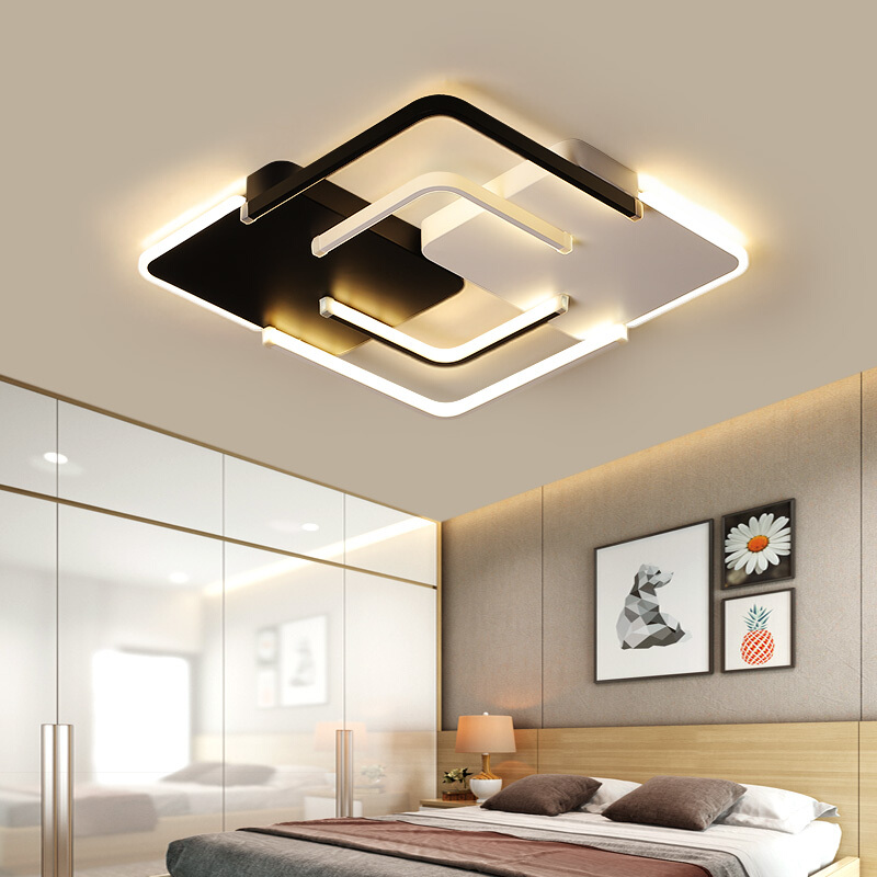 Lustre Chandelier LED Lighting Living room Bedroom Square Wave Chandelier Lighting White Black Lustre Avize Chandeliers