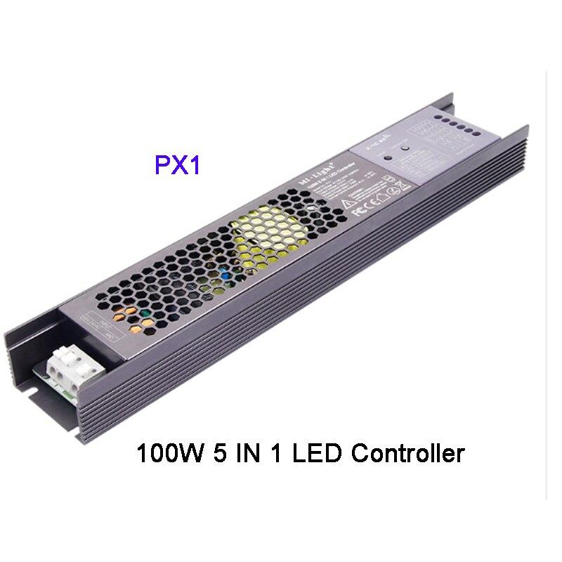 Miboxer PX1 100W 5 en 1 LED de contrôle 2.4G RF/APP/alexa commande vocale contrôleur de pilote intégré pour bande lumineuse DC24V LED