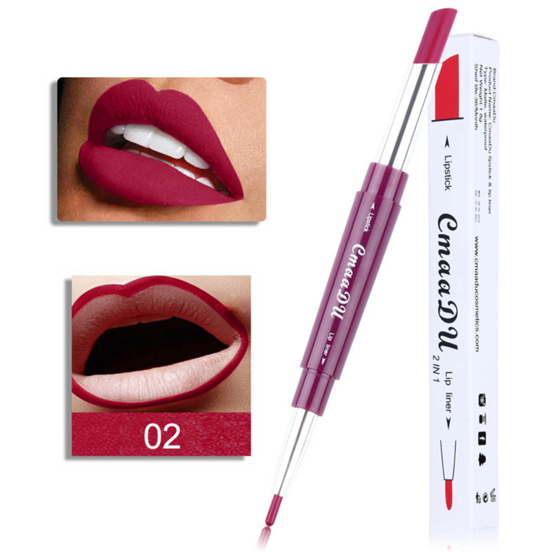 Cmaadu Multi-function 6 Colors Double-end Matte Lipstick Waterproof Lipliner Long Lasting Moisturizer Lip Stick Pencil  TSLM1