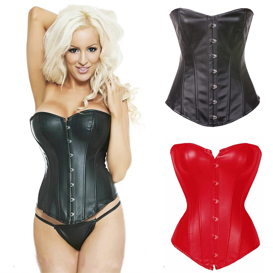 Corset Sexy Leather Faux Black Red Steampunk Corsets Bustiers PVC Lace up Gothic Sexy Lingerie Body