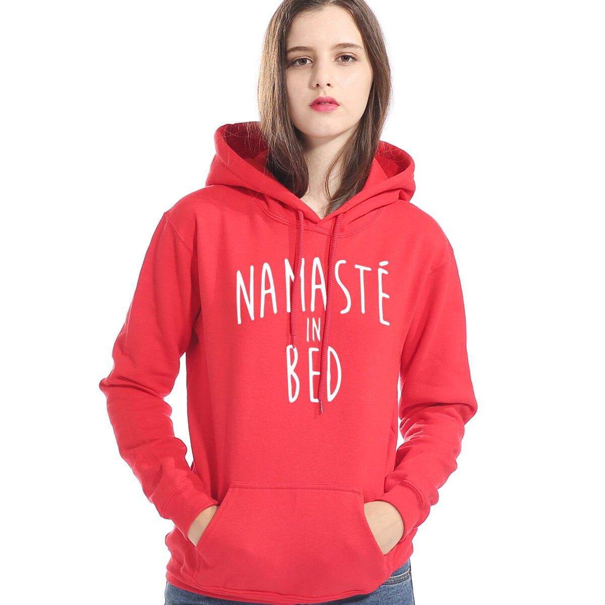 Funny Print Letter NAMASTE IN BED 2019 Winter Fleece Hoodie Casual Female Pullover Sportswear Womens Hoodies Harajuku Sweatshirt