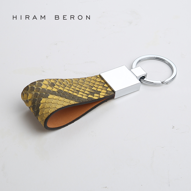 Hiram Beron Key Holder Python Skin   Vegetable Tanned Leather Wallet Chain  Bag Tool Women Leather Phone Chain Men Car Keychain 23076933c9