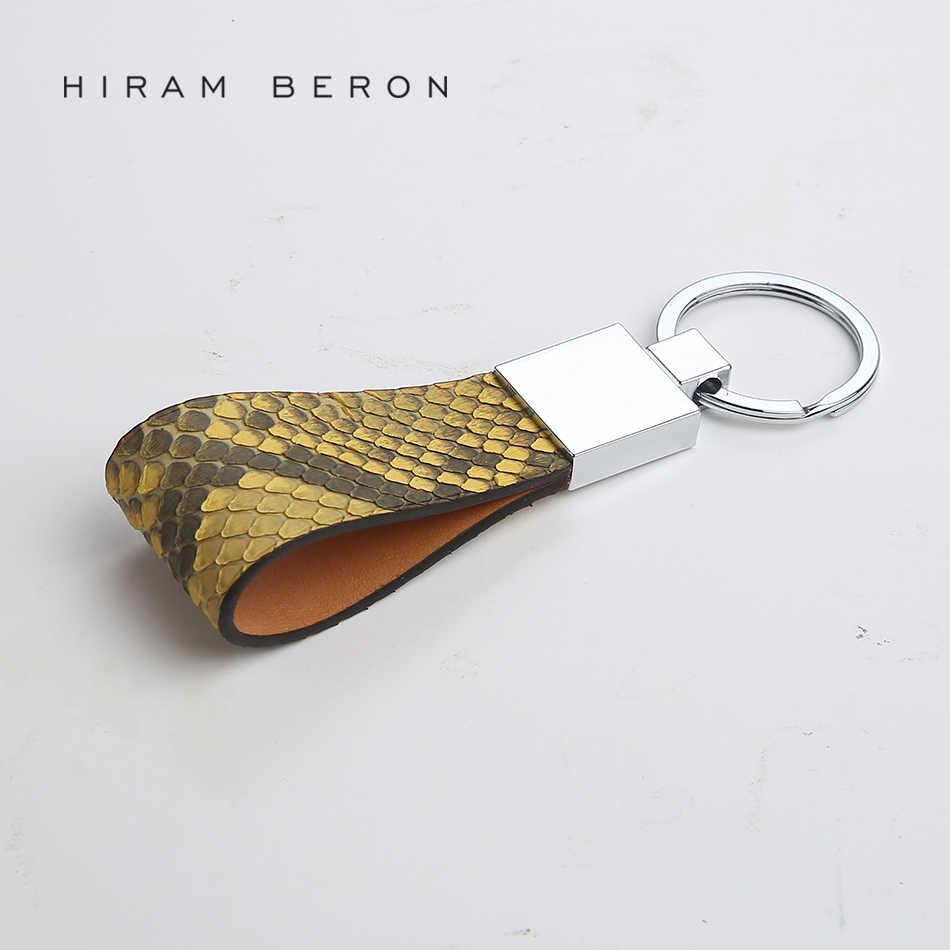 Держатель для ключей Hiram Beron из кожи питона и кожи растительного дубления кожаный кошелек цепочка сумка инструмент для женщин кожаный телефон цепь для мужчин автомобильный брелок
