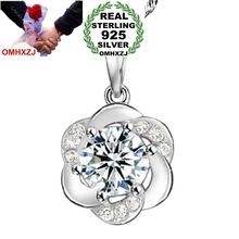 OMHXZJ Wholesale jewelry woman plum blossom flowers AAA zircon 925 sterling silver pendant Charms PE40 ( NO Chain Necklace )
