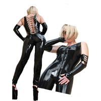New Super Cool Sexy Womens Black PVC Leather Catsuit Latex Bondage Backless Faux Leather Bodysuit Exotic Clubwear Plus Size XXL