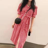 Designer Women Red Striped Dress 2018 British Style Ladies Wrap Dresses SALE