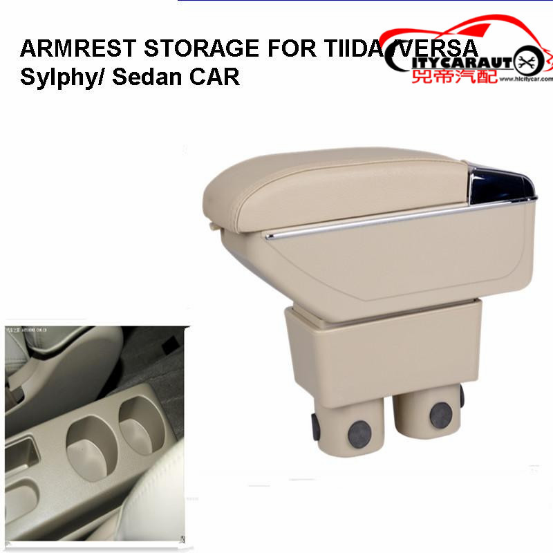 ФОТО CITYCARAUTO central armrest BIG SPACE+LUXURY+USB armrest box content box with cup holder LED USB FOR tiida versa sylphy sedan