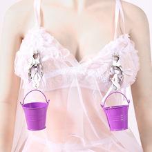 Erotyczne ze stali nierdzewnej sutek zaciski z małe wiaderko Bdsm fetysz piersi gry dla dorosłych tanie tanio Abolodo WOMEN Zestaw akcesoriów Metal Nipple clamp Adult erotica products Sex toy