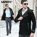 Abrigo de piel abrigo de pieles de lujo de piel de oveja macho hombre abrigo masculino de piel de oveja de piel chaquetas con capucha abrigo largo envío libre