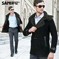Male sheepskin fur coat luxurious fur coat man overcoat male sheepskin fur jackets hooded long coat free shipping