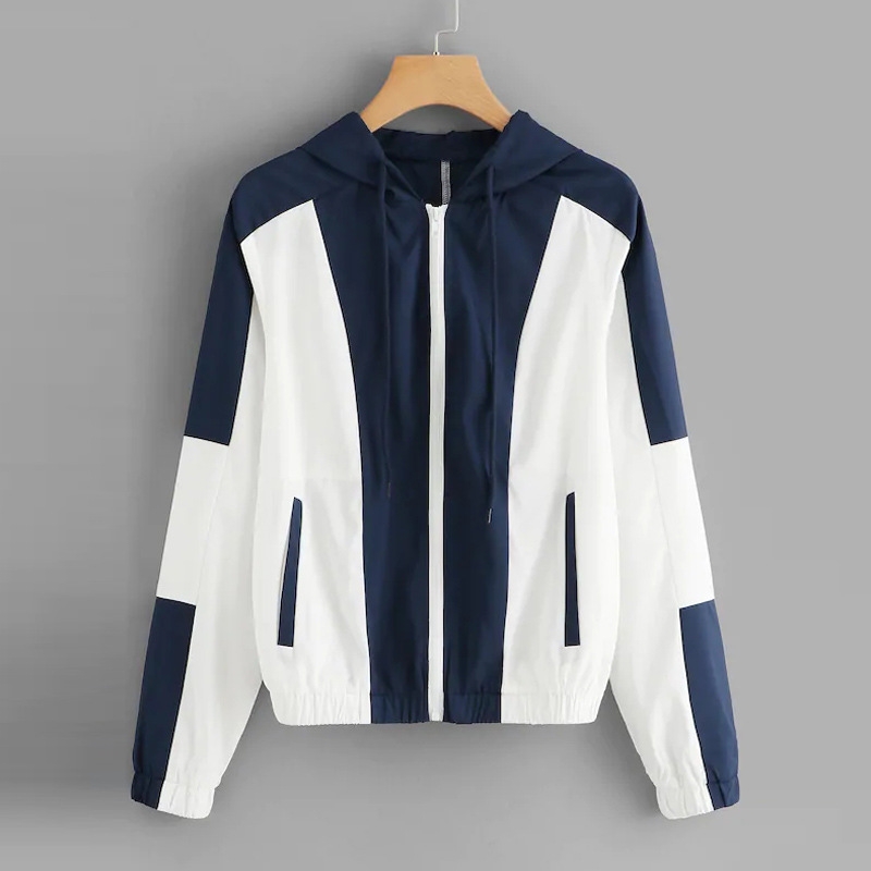 Basic     Jacket   Women 2019 Spring New Fashion Contrast Color Hooded Zipper   Jackets   and Coats Ladies Casual Outwear Coats Female Hot