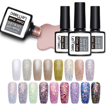 LEMOOC 12ml Shimmer Glitter Nail Gel Polish Shining Sequins Soak Off UV Varnish Manicure Art Laquer