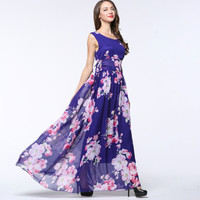 TUHAO Chiffon Big Swing Plus Size 6XL 5XL 4XL Print Flower Women Dress 2018 Summer High Waist Maxi Women's Beach Dresses CM115
