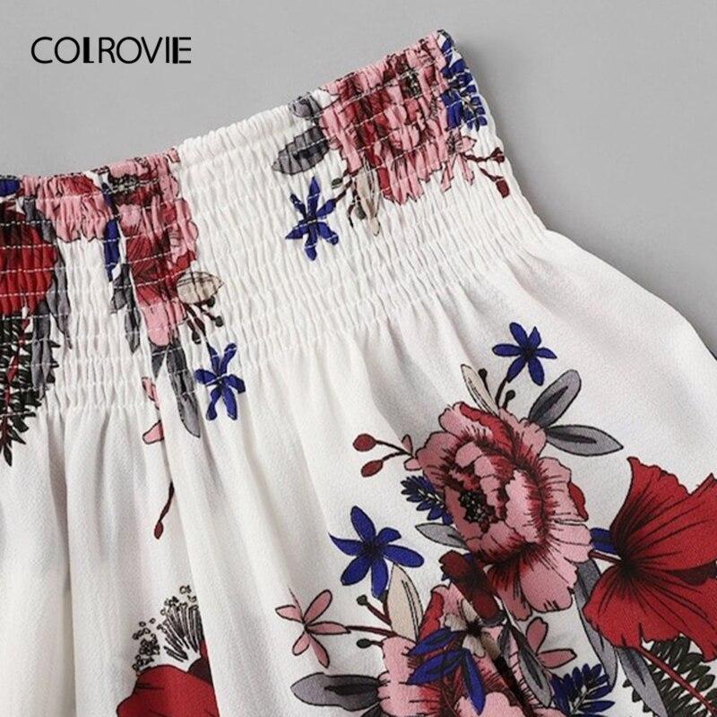 Womens Ladies White Floral Print Ruffle Hem Shorts