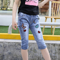 Hot summer children's boys jeans baby girls waistline Butterfly pants jeans child elastic waist 4-12Y