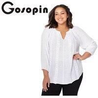 4b5d97c7 Gosopin Fashion Tops Plus Size New Spring Summer Blouse Women Long Sleeve  White Shirts Blouse Blue