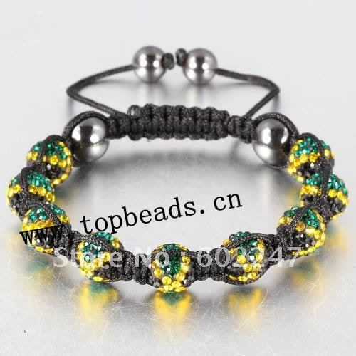 New Arrival Jamaican Flag Shamballa Bracelet Pave Crystal Clay Ball Beads Bracelets Wholes