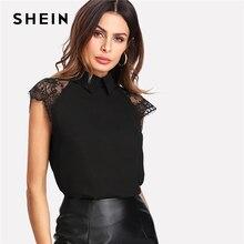 SHEIN Floral Lace Cap Blusa de manga negra Peter pan Collar botón mujeres elegante Top de verano de manga corta blusa de trabajo simple