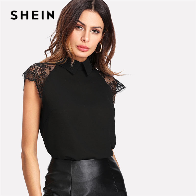 SHEIN Pizzo Floreale Cap Sleeve Camicetta Nero Collare Del Peter pan Button Donna Elegante Top Estate Manica Corta Pianura Workwear Camicetta