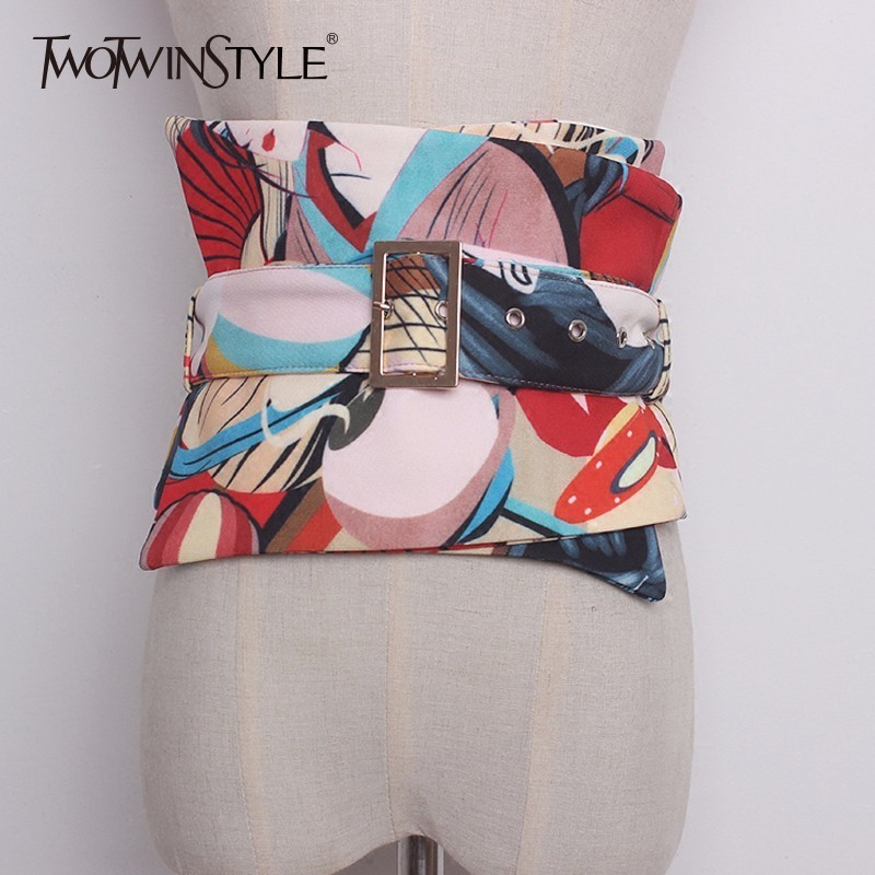 TWOTWINSTYLE Print Wide Belt For Women Sashes High Waist Cummerbund Female 2019 Spring Collocation Accessories Fashion Japanese