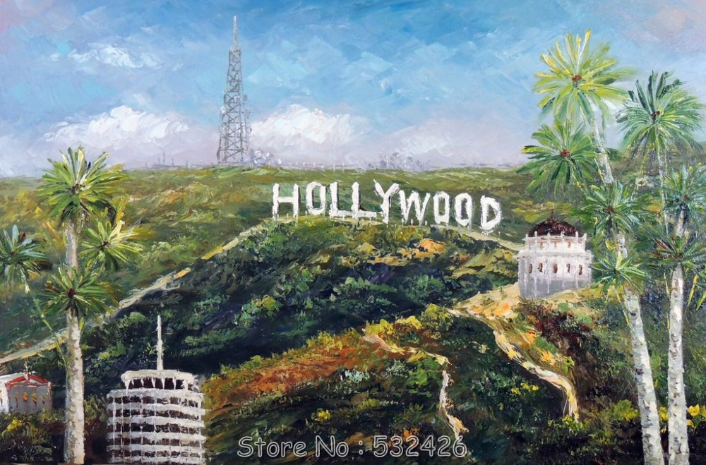Hollywood Sign Hills LA California Palm Trees Handpainted Oil Painting On Canvas Wall Art Home Decoration Free Shipping In Calligraphy From